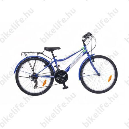 """Neuzer Bobby City 24""""-os gyerek kerékpár, fiú, 18 seb. Shimano váltó, királykék/fehér-zöld"""