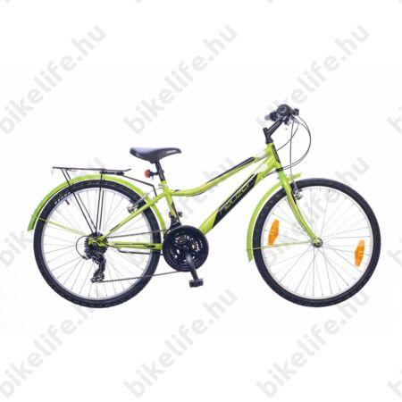 """Neuzer Bobby City 24""""-os gyerek kerékpár, fiú, 18 seb. Shimano váltó, neon zöld"""