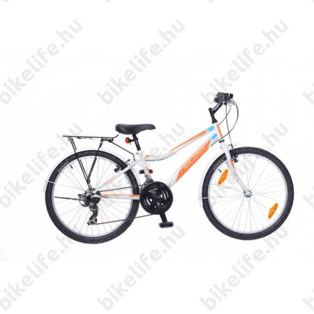 """Neuzer Bobby City 24""""-os gyerek kerékpár, fiú, 18 seb. Shimano váltó, fehér/narancs"""