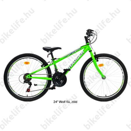 "Hauser Wolf 24""-os gyerekkerékpár, fiú, Shimano Revoshift váltórendszer, zöld"