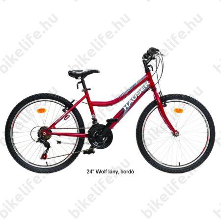 """Hauser Wolf 24""""-os gyerekkerékpár, lányka, Shimano Revoshift váltórendszer, bordó"""