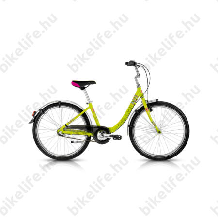 """Kellys Maggie 24""""-os gyerekkerékpár alumínium váz, city felszereltség, lime szín"""