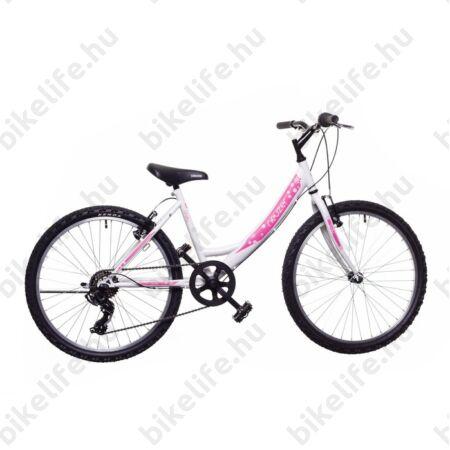 """Neuzer Cindy 24""""-os lányka gyerek kerékpár 6 sebességes Shimano váltó fehér/rózsaszín új dizájn"""