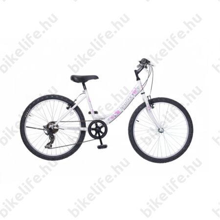 """Neuzer Cindy 24""""-os gyerek kerékpár, lány, 6 seb. Shimano váltó, fehér/rózsaszín virágmintás matrica"""