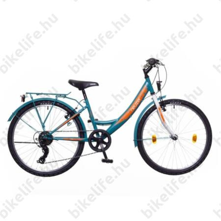 """Neuzer Cindy City 24""""-os gyermek kerékpár lány, 6 sebességes, türkiz-fehér"""