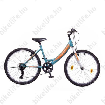 """Neuzer Cindy 24""""-os lányka gyerek kerékpár 6 sebességes Shimano váltó türkiz/fehér-sárga"""