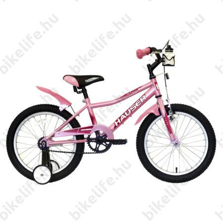 """Hauser Puma 18""""-os gyerekkerékpár, kontrás, világos rózsaszín"""