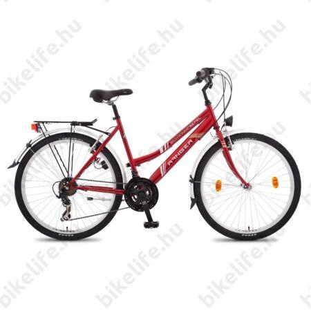 """Csepel Ranger női MTB kerékpár city felszereltség, 21sebességes váltó, piros, 17"""""""
