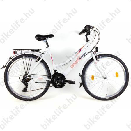 """Csepel Ranger női MTB kerékpár city felszereltség, 21sebességes váltó, fehér, 19"""""""