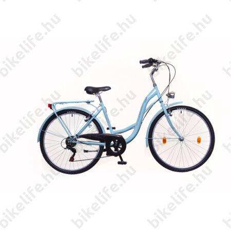 """Neuzer Venezia 26""""-os városi kerékpár 6 sebességes, celeste/piros-zöld, fém sárvédőkkel"""