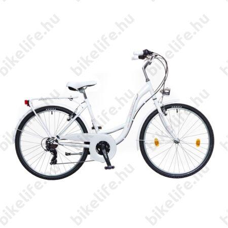 """Neuzer Venezia 30 city női 26""""-os városi kerékpár 21 fokozattal fehér/rózsaszín-zöld 17"""""""