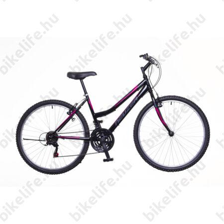 """Neuzer Nelson női MTB kerékpár 18sebességes, fekete/szürke-pink 17"""""""