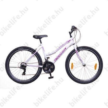 """Neuzer Nelson 30 női MTB kerékpár fék/váltókaros, 21 sebességes, duplafalú kerekek, fehér/lila-rózsa 19"""""""