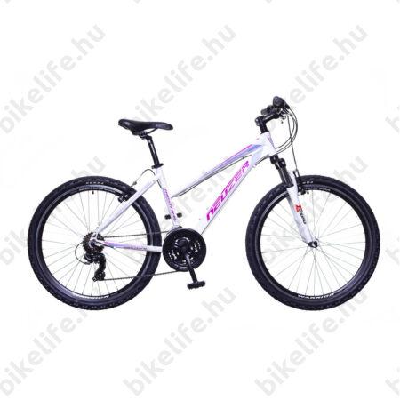"""Neuzer Mistral TY300 női aluvázas 26-os MTB kerékpár, 21 sebességes, teleszkópos, fehér/pink/lila 19"""""""