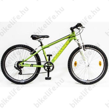 Csepel Woodlands 24-es gyerek kerékpár alumínium vázzal és teleszkóppal, 6sebességes, zöld