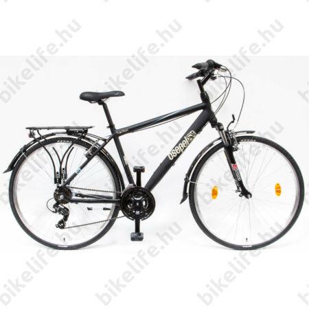 """Csepel Traction 100 férfi trekking kerékpár, alumínium váz, 21 fokozat, fekete, 21"""""""