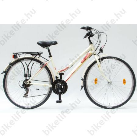 """Csepel Landrider női trekking kerékpár Shimano RS/TX váltó, duplafalú abroncs, krémfehér 19"""""""
