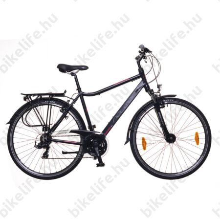 """Neuzer Ravenna 100 férfi trekking kerékpár aluvázas, agydinamós, teleszkópos fekete/kék-piros, 21"""""""