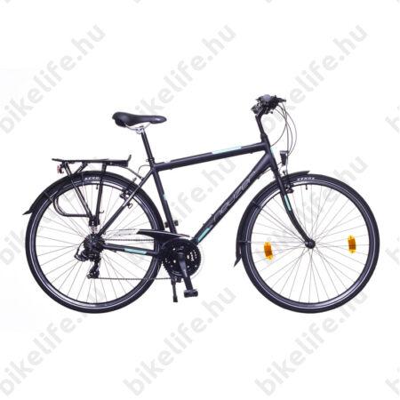 """Neuzer Ravenna 50 férfi alumínium vázas trekking kerékpár, merevvillás mattfekete/türkiz 21"""""""