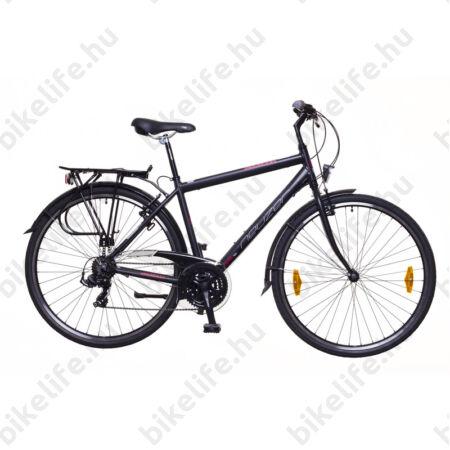 """Neuzer Ravenna 50 férfi alumínium vázas trekking kerékpár, merevvillás mattfekete/bordó 19"""""""