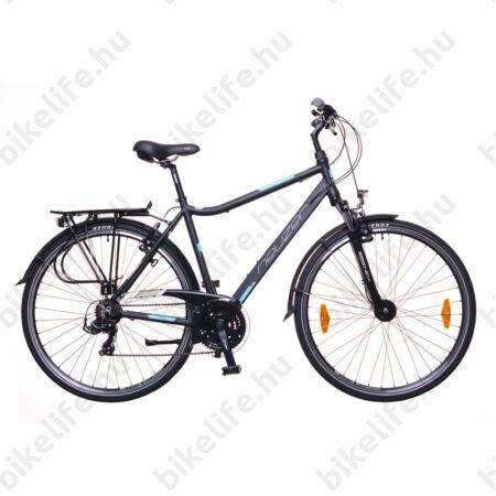 """Neuzer Ravenna 100 férfi alu vázas trekking kerékpár agydinamós, teleszkópos fekete/türkiz matt 19"""""""