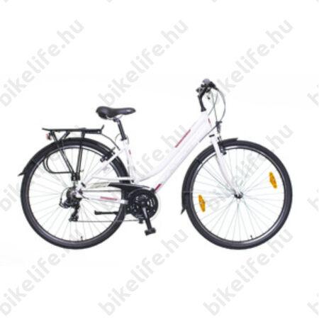"""Neuzer Ravenna 50 női alumínium vázas trekking kerékpár, merevvillás, fehér/bordó matt 19"""""""