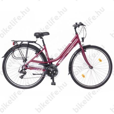 """Neuzer Ravenna 100 női alumínium vázas trekking kerékpár agydinamós, teleszkópos fehér/lila-szürke 19"""""""