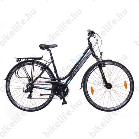 """Neuzer Ravenna 100 női alumínium vázas trekking kerékpár agydinamós, teleszkópos fekete matt 19"""""""