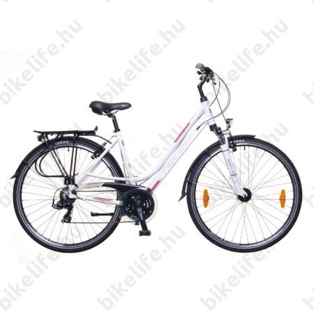 """Neuzer Ravenna 100 női alumínium vázas trekking kerékpár agydinamós, teleszkópos fehér/bordó-szürke matt 17"""""""