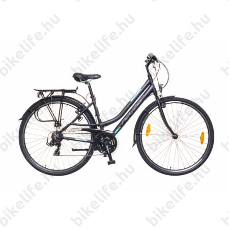 """Neuzer Ravenna 50 alumínium vázas női trekking kerékpár, merev villás, fekete/türkiz matt 19"""""""