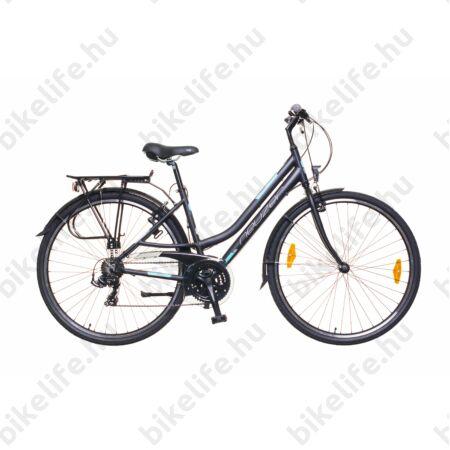 """Neuzer Ravenna 50 alumínium vázas női trekking kerékpár, merev villás, fekete/türkiz matt 17"""""""