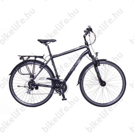 """Neuzer Firenze 200 férfi alu vázas trekking kerékpár, agydinamós, teleszkópos fekete/fehér-szürke matt 19"""""""