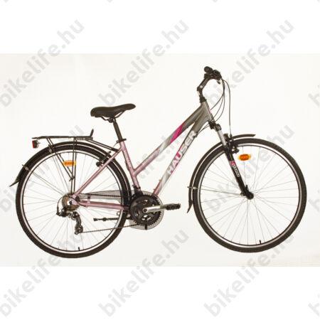Hauser Voyager női trekking kerékpár, aluvázas, EF51/TX50 váltórendszerrel, mattszürke/rózsaszín