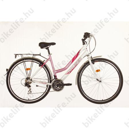 Hauser Grizzly női trekking kerékpár, Shimano markolatváltó, duplafalú abroncs, rózsaszín/fehér