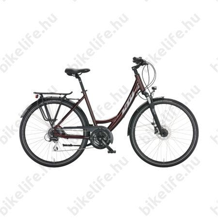 KTM Life Ride női trekking kerékpár 24 fokozatú Acera váltó, tárcsafék, matt fekete/fényes narancs, mono váz 43cm