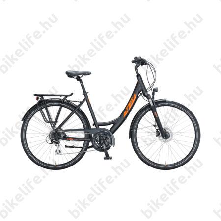KTM Life Ride női trekking kerékpár 24 fokozatú Acera váltó, tárcsafék, matt fekete/fényes narancs, mono váz 46cm