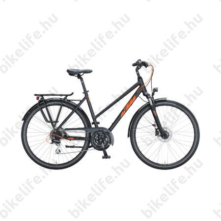 KTM Life Ride női trekking kerékpár 24 fokozatú Acera váltó, tárcsafék, matt fekete/fényes narancs, komfort váz 51cm