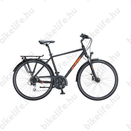 KTM Life Ride férfi trekking kerékpár 24 fokozatú Acera váltó, tárcsafék, matt fekete/fényes narancs 60cm