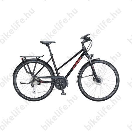 KTM Life Space női trekking kerékpár 27 fokozatú Deore XT váltó, tárcsafék, metál fekete, komfort váz 46cm
