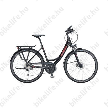 KTM Life Space női trekking kerékpár 27 fokozatú Deore XT váltó, tárcsafék, metál fekete, mono váz 43cm