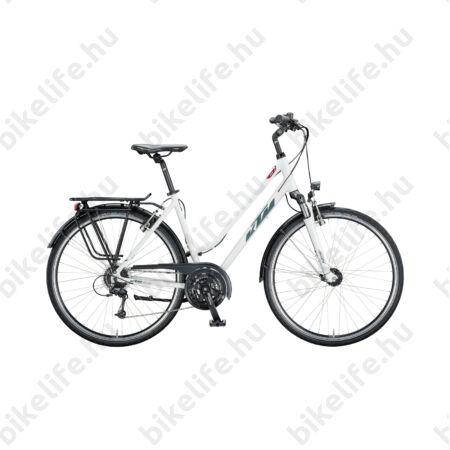 KTM Life Time női trekking kerékpár 24 fokozatú Deore váltó, holdezüst-szürke komfort váz 46cm