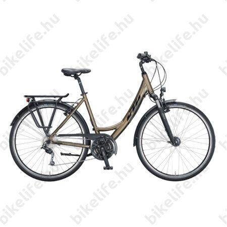KTM Life Time női trekking kerékpár 27sebességes Deore váltó, metál tölgy barna mono váz 43cm