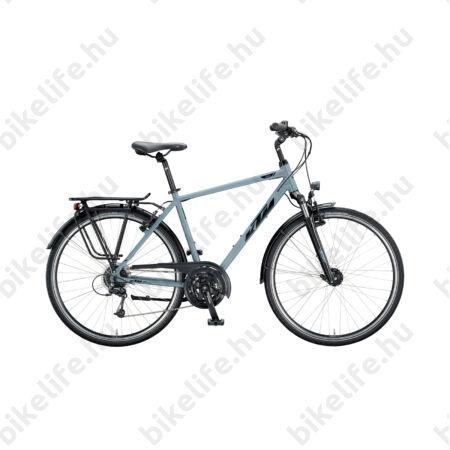 KTM Life Time 2018 férfi trekking kerékpár 24seb. Deore váltó, matt-fekete (ezüst/szürke) 51cm