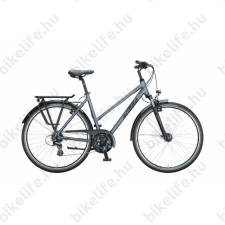 KTM Life Joy női trekking kerékpár 24 fokozatú Shimano Altus váltó, mattezüst/fekete, mono váz 46cm