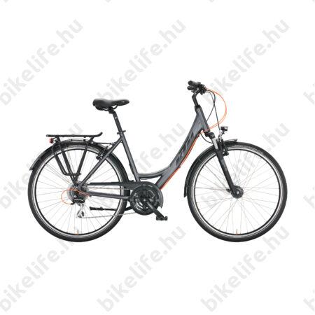 KTM Life Joy női trekking kerékpár 24 fokozatú Shimano Altus váltó, mattezüst/fekete, mono váz 43cm