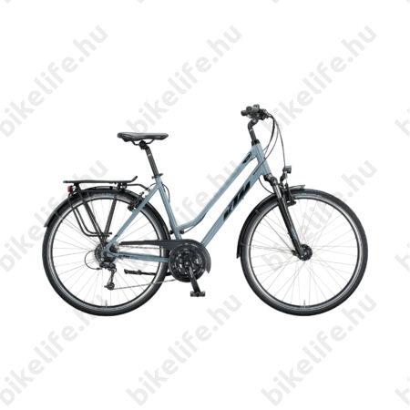 KTM Life Time női trekking kerékpár 24 fokozatú Deore váltó, szürke-fekete komfort váz 46cm