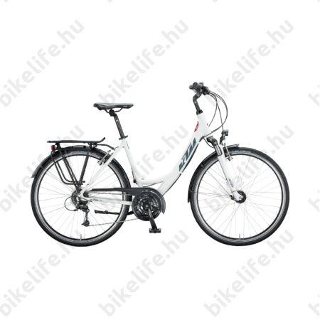 KTM Life Time női trekking kerékpár 24 fokozatú Deore váltó, holdezüst-szürke mono váz 46cm