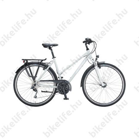 KTM Life Time női trekking kerékpár 27seb. Deore váltó, világos szürke (fehér-rózsa) komfort vázas 46cm