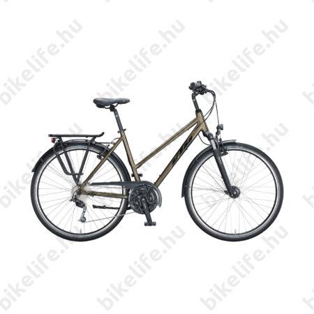 KTM Life Time női trekking kerékpár 27 fokozatú Deore váltó, metál tölgy barna, komfort vázas 46cm