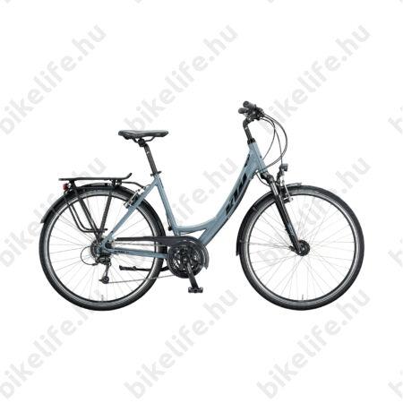 KTM Life Time női trekking kerékpár 24 fokozatú Deore váltó, szürke-fekete mono váz 46cm